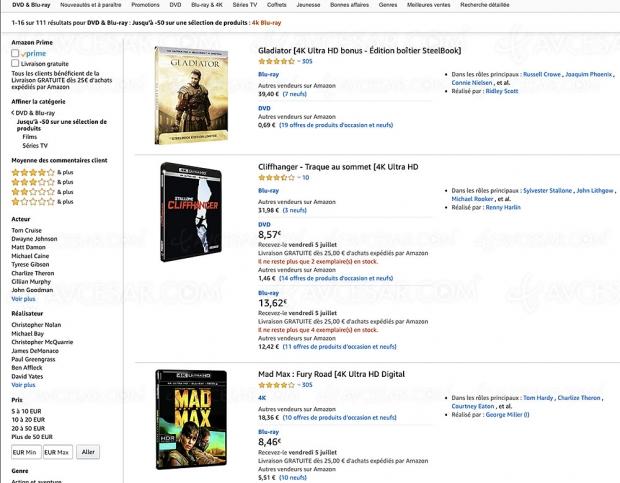 Promos Amazon 111 coffrets 4K Ultra HD Blu‑Ray jusqu'à -57%