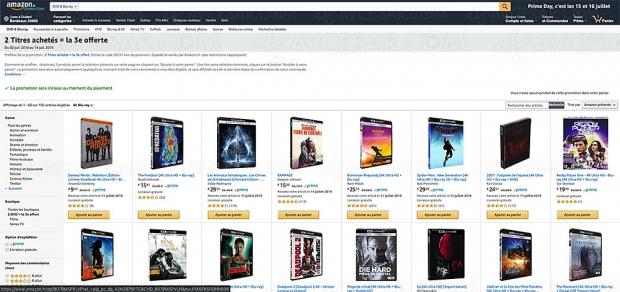 Promos Amazon 105 coffrets 4K Ultra HD Blu‑Ray, 2 achetés = le 3e offert
