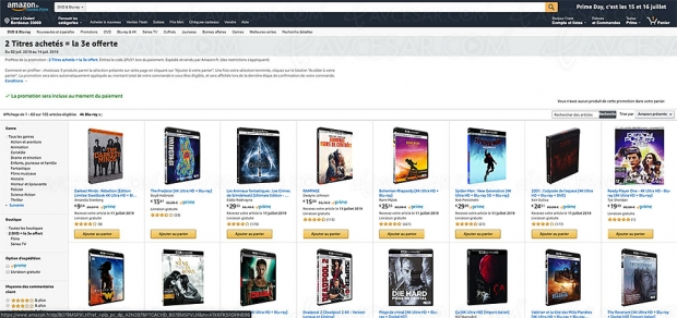 Promos Amazon 106 coffrets 4K Ultra HD Blu‑Ray, 2 achetés = le 3e offert