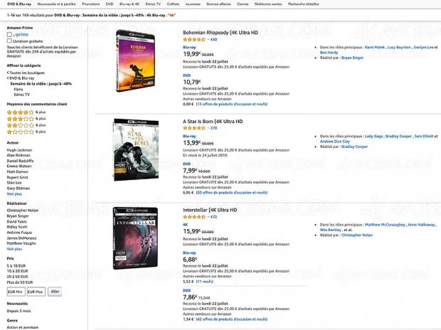 Amazon Semaine de la vidéo, 169 coffrets 4K Ultra HD Blu‑Ray jusqu'à -70%