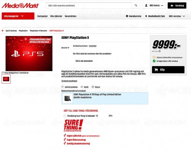PlayStation 5, précommandes ouvertes à près de 1 000 € en Suède chez MediaMarkt