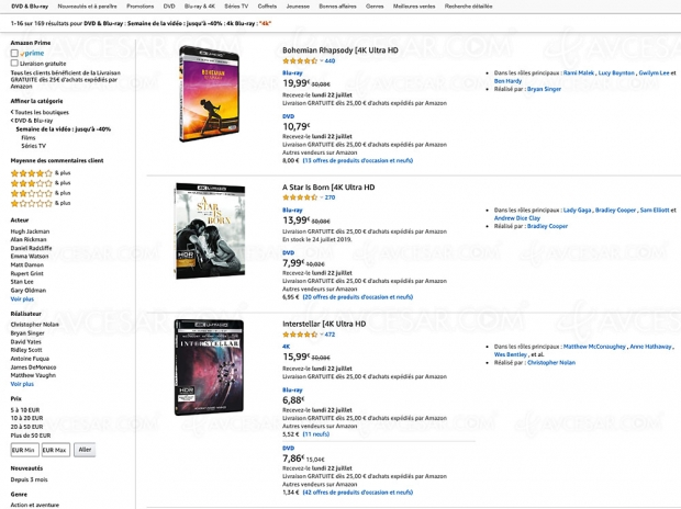 Amazon Semaine de la vidéo, 166 coffrets 4K Ultra HD Blu‑Ray jusqu'à -57%