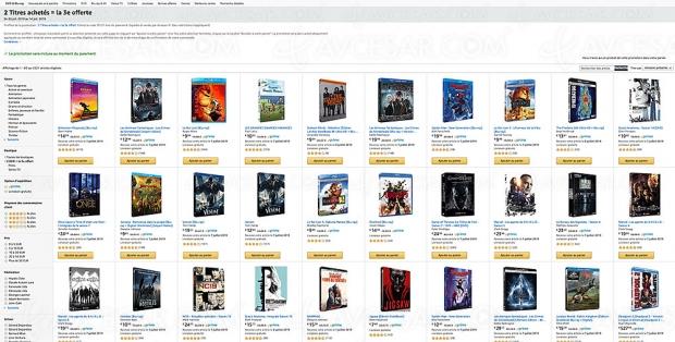 Promo Amazon, deux 4K/Blu‑Ray/DVD achetés, un troisième offert parmi 3 350 titres