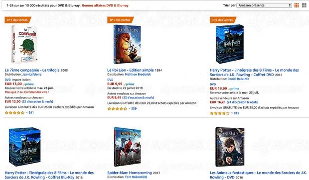 Amazon Bonnes Affaires, 10 000 4K Ultra HD Blu‑Ray, Blu‑Ray et DVD jusqu'à -60%