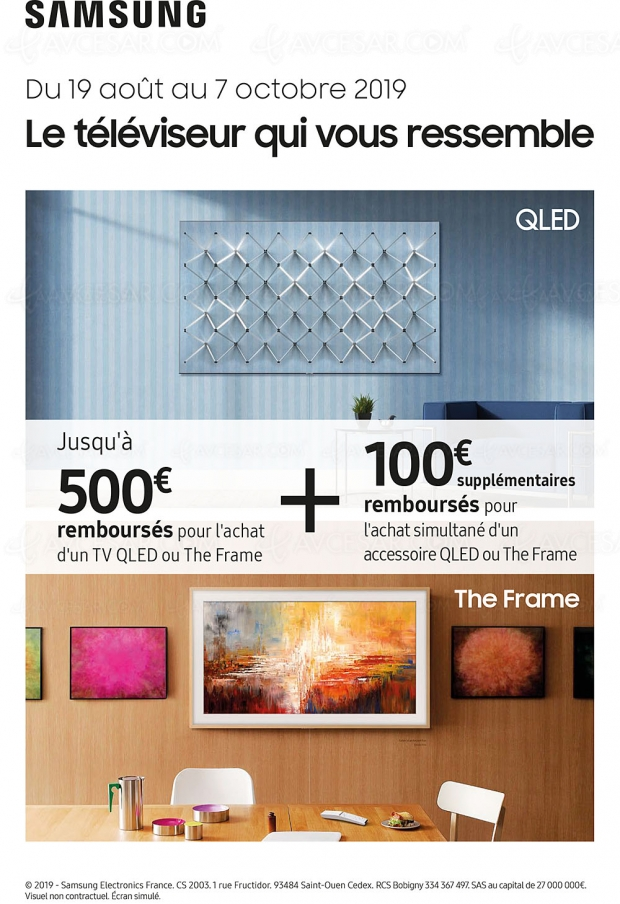 Offre de remboursement TV Samsung QLED ou The Frame, jusqu'à 600 € remboursés