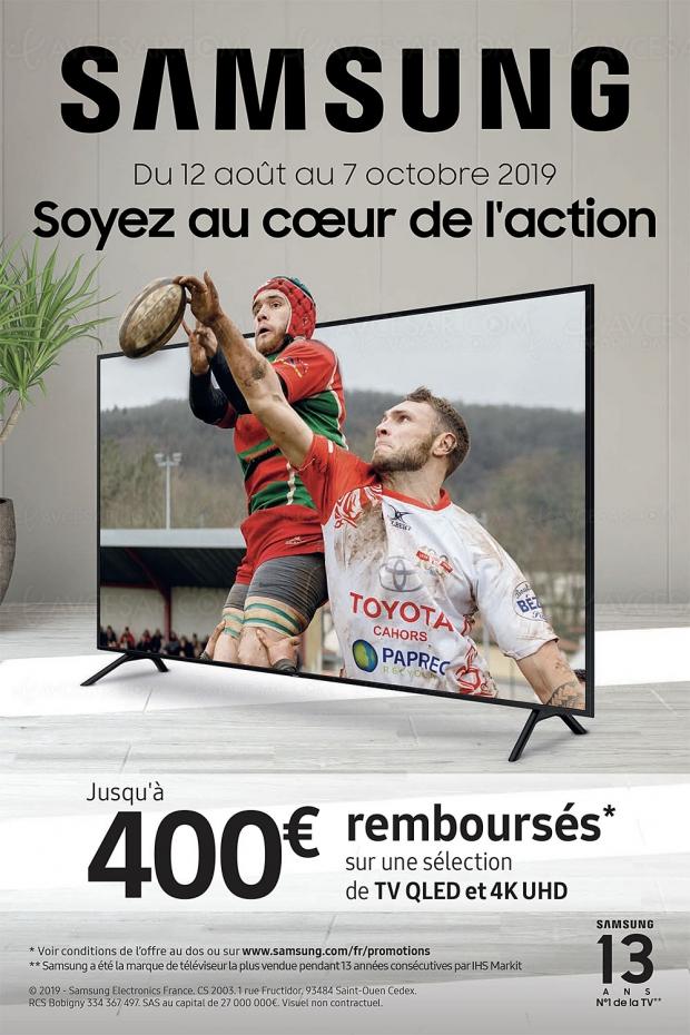 Offre de remboursement TV Samsung QLED et Ultra HD, jusqu'à 400 € remboursés