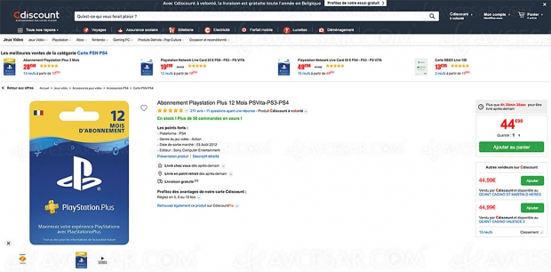 Bon plan Playstation Plus CDiscount, abo 12 mois PSVita/PS3/PS4 à 44,99 € soit -25%