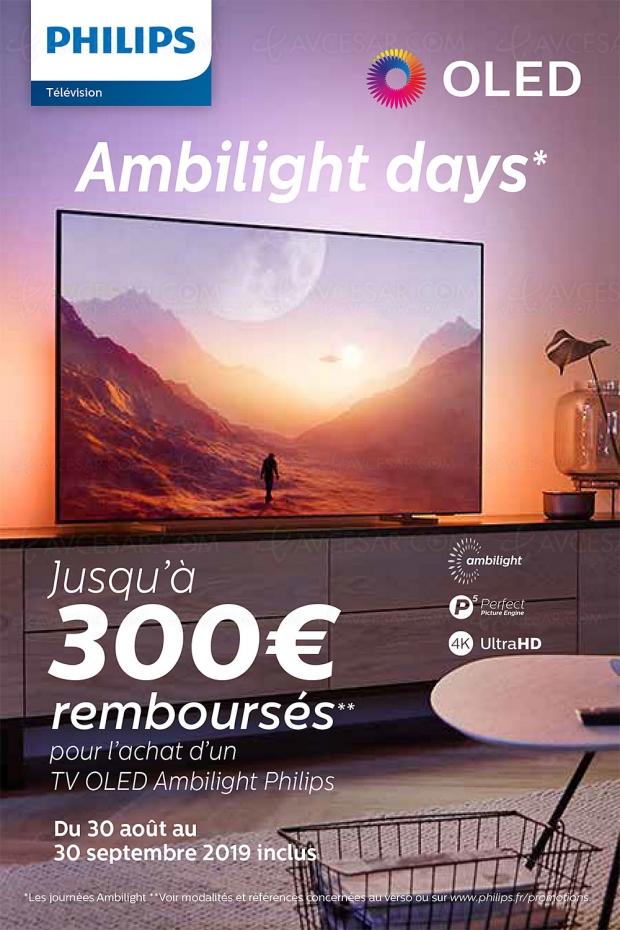 Offre de remboursement Philips TV Oled UHD Ambilight Days, jusqu'à 300 € remboursés