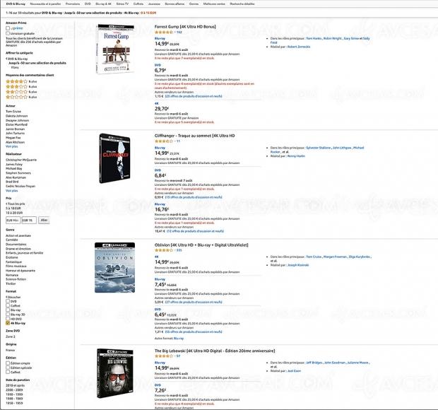 Promo Amazon, 115 coffrets 4K Ultra HD Blu‑Ray à moins de 15 €