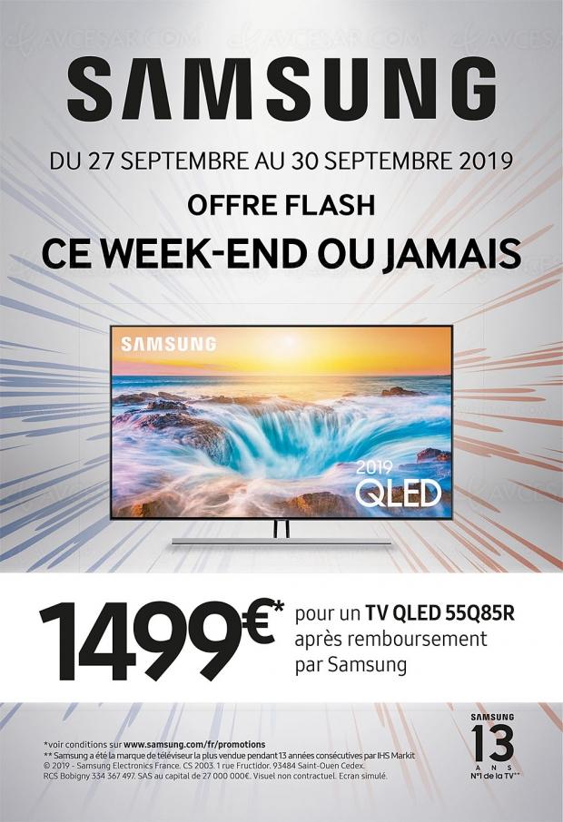 Offre de remboursement flash 72h TV QLED Samsung 55Q85R, jusqu'à 500 € remboursés