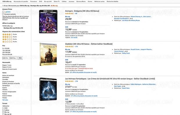 Promo Amazon, 234 coffrets 4K Ultra HD Blu‑Ray à moins de 20 €