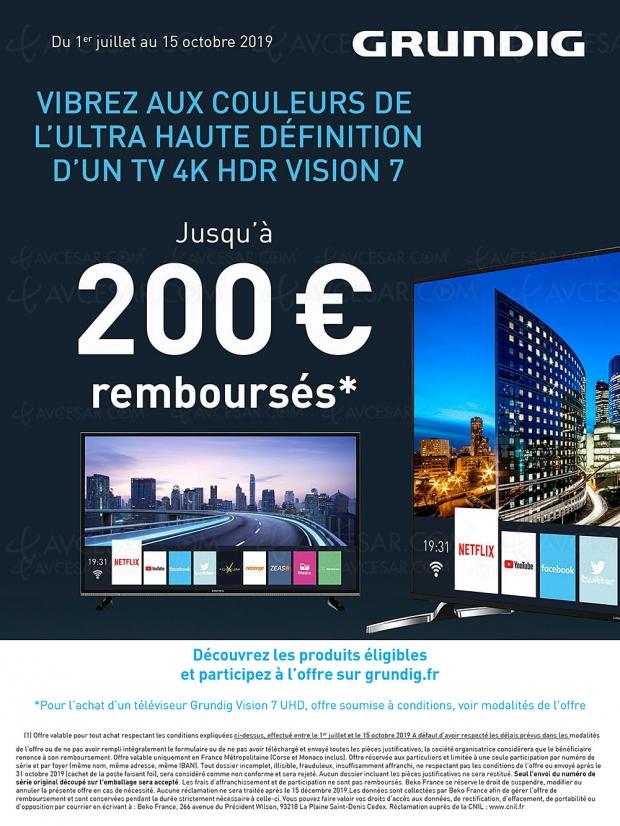 Offre de remboursement TV Ultra HD/4K Grundig, jusqu'à 200 € remboursés