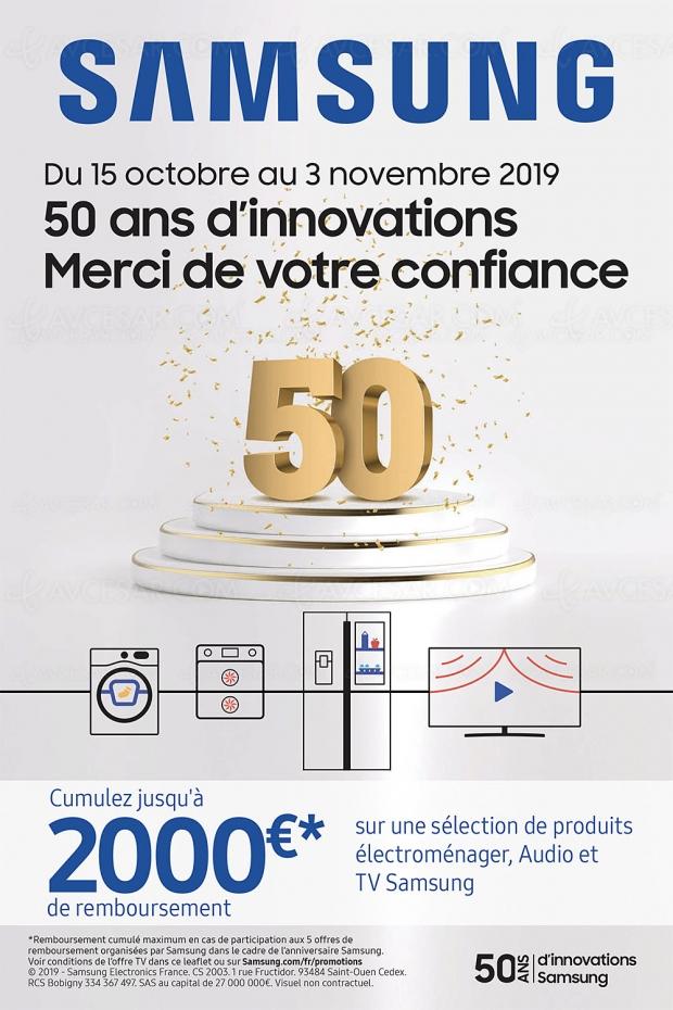 Offre de remboursement TV Samsung QLED et Ultra HD 50e anniversaire, jusqu'à 1 000 € remboursés