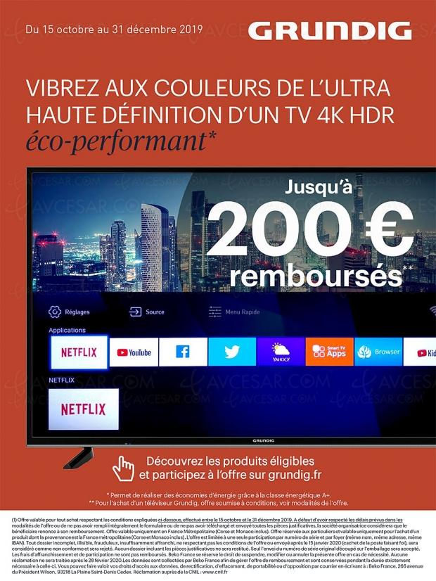 Offre de remboursement TV LED et Oled Ultra HD/4K Grundig, jusqu'à 200 € remboursés