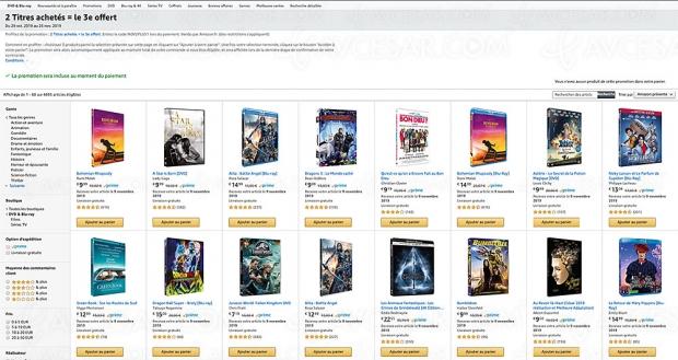 Promo Amazon, deux 4K/Blu‑Ray/DVD achetés, un troisième offert parmi 4 895 titres