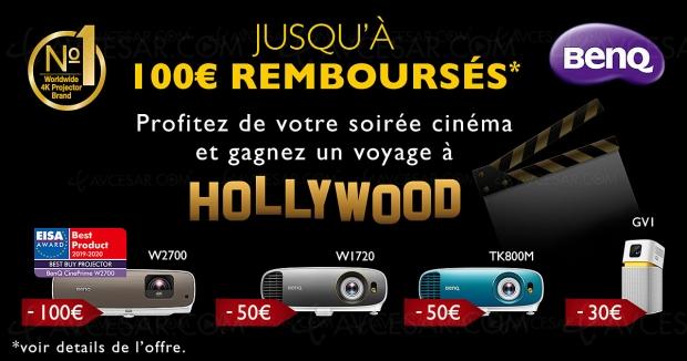 Offre de remboursement vidéoprojecteur Ultra HD/4K BenQ, jusqu'à 100 € remboursés et un voyage à Hollywood à gagner