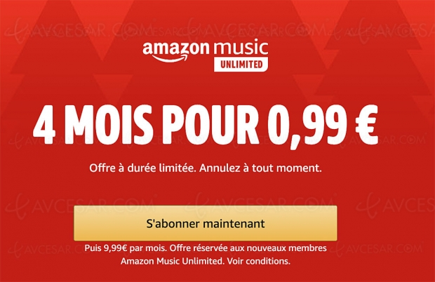 Amazon Music Unlimited à 0,99 € pendant 4 mois !