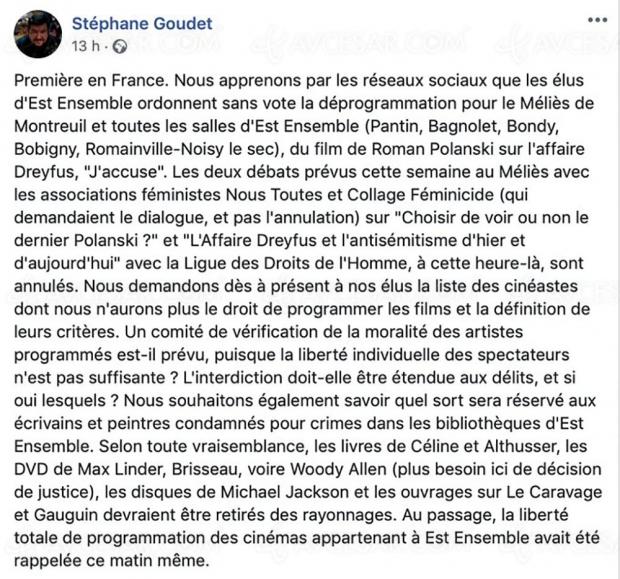 J'accuse de Polanski déprogrammé par les élus de la collectivité Est Ensemble (Montreuil, Pantin, Bagnolet…)