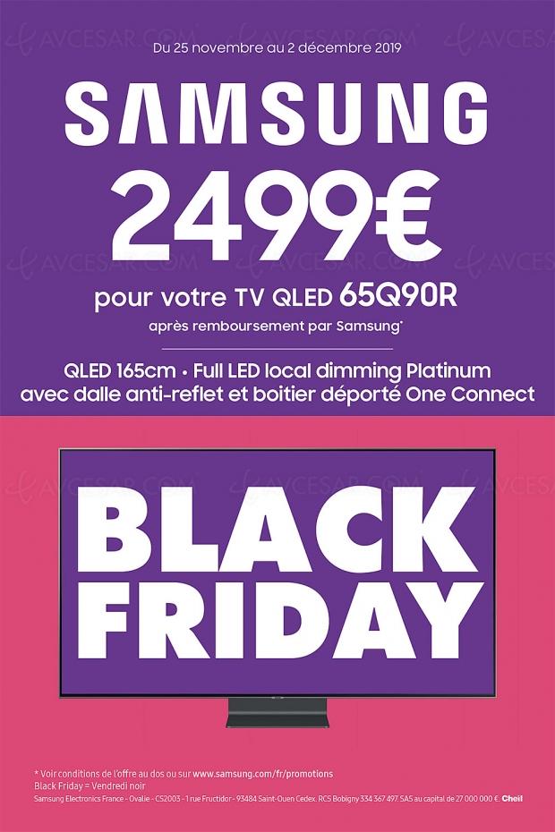 Black Friday 2019 > Offre de remboursement 1 000 € TV QLED Samsung 65Q90R