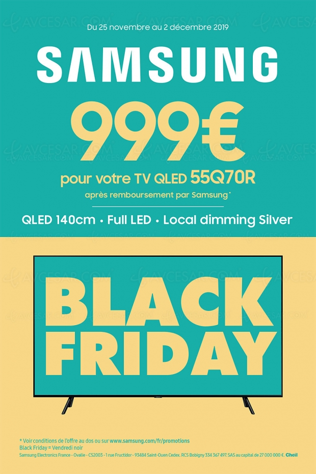 Black Friday 2019 > Offre de remboursement 300 € TV QLED Samsung 55Q70R