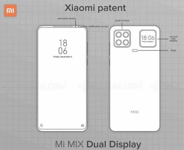 Brevet smartphone Xiaomi : second (petit) écran à l'arrière