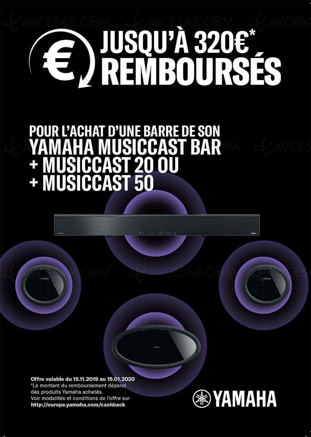 Offre de remboursement Yamaha MusicCast, jusqu'à 320 € remboursés