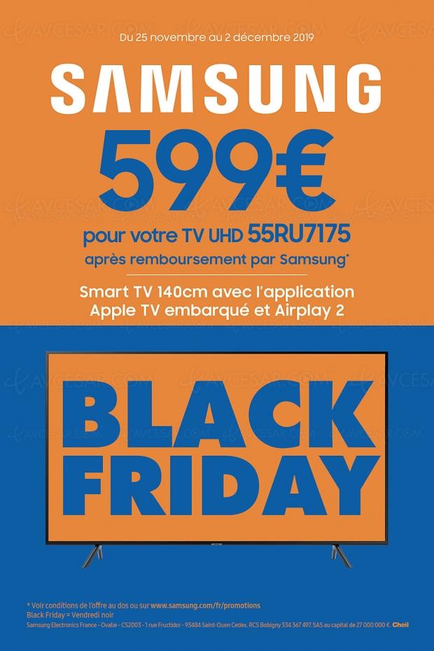 Black Friday 2019 > Offre de remboursement 150 € TV LED Samsung 55RU7175