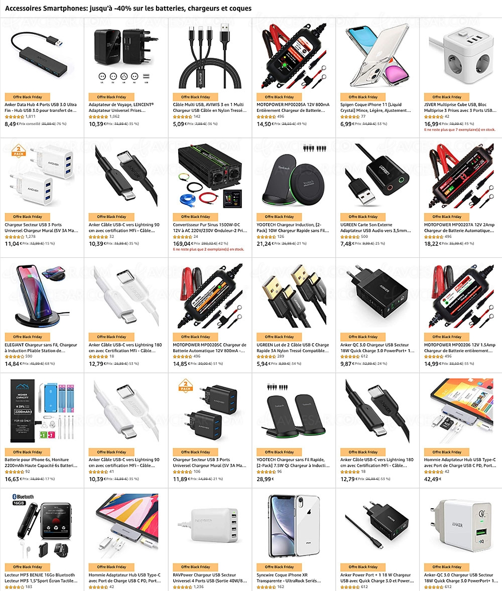 black friday chargeur universel