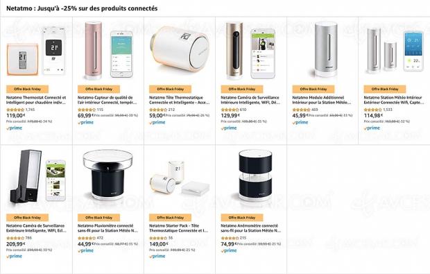 Black Friday 2019 > Amazon Netatmo : caméra sécurité, station météo, thermostat… jusqu'à 35% de remise
