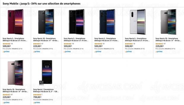 Black Friday 2019 > Amazon Sony smartphones : Xperia 1, Xperia 5 et Xperia 10… jusqu'à 34% de remise