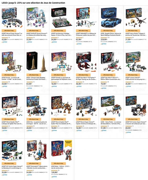 Black Friday 2019 > Amazon, sélection de jeux de constructions jusqu'à 45% de remise