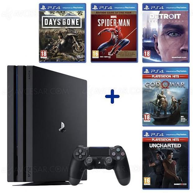 Cyber Monday 2019 > PS4 Pro 1 To + 5 jeux AAA à 399,99 €, soit 210,99 € ou 35% de remise