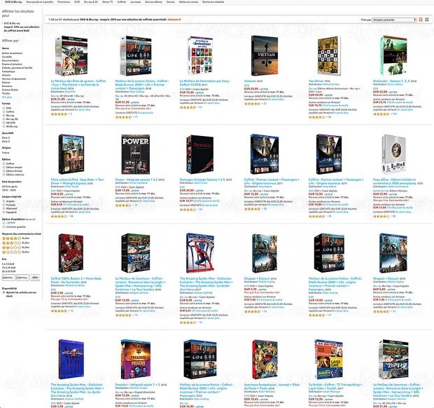 Promo Amazon DVD et Blu-Ray, -50% de remise sur 61 coffrets pour Noël