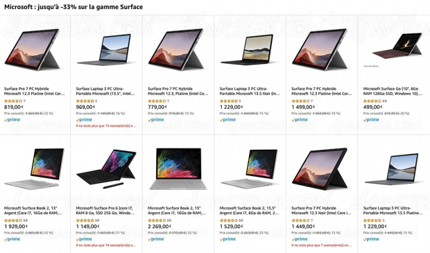 Ventes flash Noël 2019 > Amazon, Microsoft tablette PC Surface jusqu'à -33% de remise