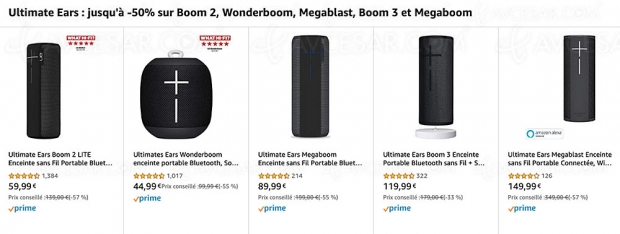 Ventes flash Noël 2019 > Amazon Ultimate Ears : jusqu'à -57% sur les enceintes Bluetooth Boom 2, Megaboom, Wonderboom et Megablast