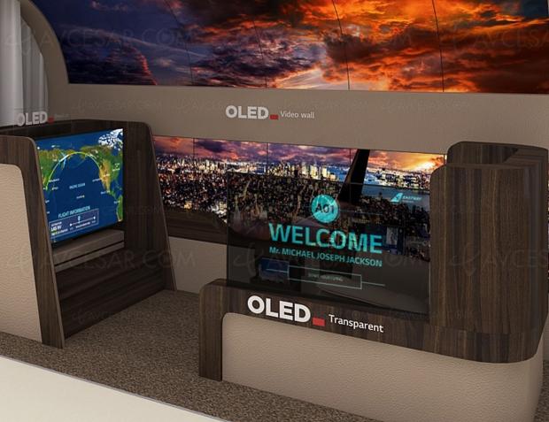 CES 20 > LG Display : écran Oled déroulable au plafond + multitude d'écrans Oled concept