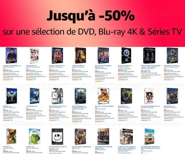 Amazon Bonnes Affaires, 3 000 4K Ultra HD Blu‑Ray, Blu‑Ray et DVD jusqu'à -50%