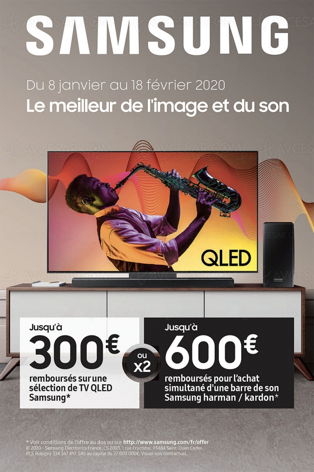 Offre de remboursement TV Samsung QLED, jusqu'à 300 € remboursés, 600 € avec l'achat d'une barre de son