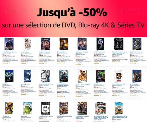 Amazon soldes hiver 2020, 3 000 4K Ultra HD Blu‑Ray, Blu‑Ray et DVD jusqu'à -50%