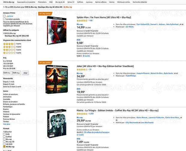 Amazon, 825 coffrets 4K Ultra HD Blu‑Ray jusqu'à -62%