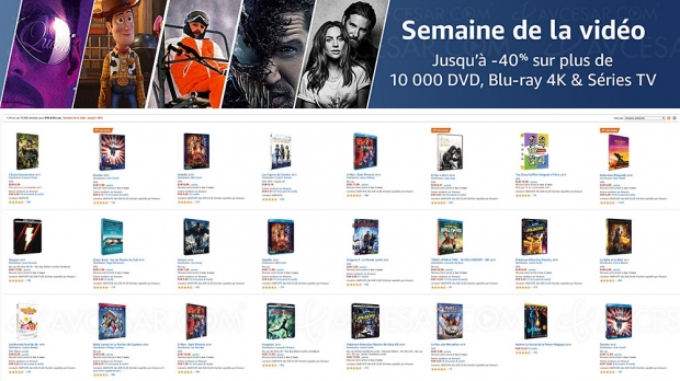 Amazon semaine de la vidéo, 10 000 4K Ultra HD, Blu‑Ray, DVD jusqu'à ‑63%