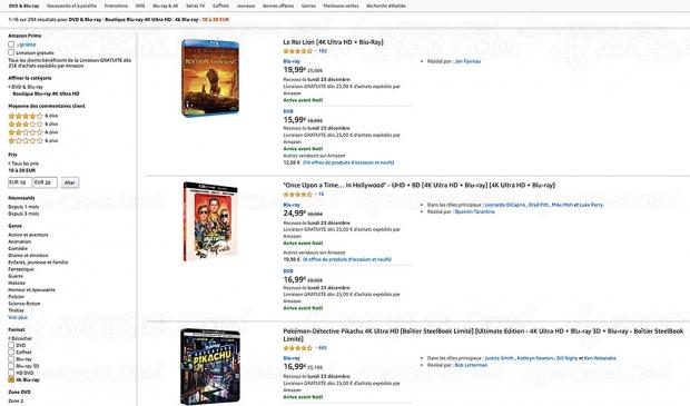Amazon, 293 coffrets 4K Ultra HD Blu‑Ray à moins de 20 €