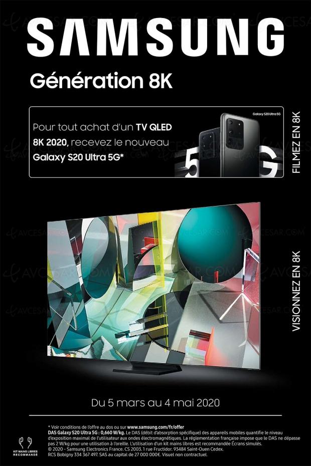 Offre Génération 8K, un Galaxy S20 5G 128 Go offert pour l'achat d'un TV Samsung QLED 8K