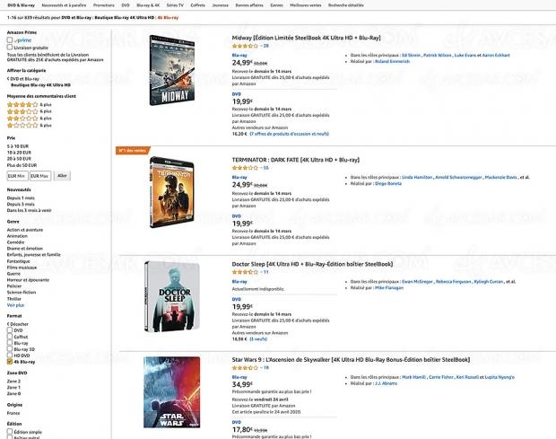 Amazon, 843 coffrets 4K Ultra HD Blu‑Ray jusqu'à ‑63%