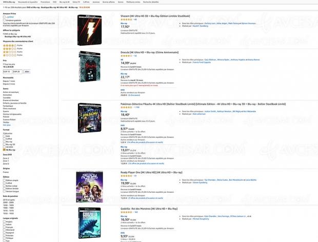Amazon, 112 coffrets 4K Ultra HD Blu‑Ray à moins de 20 €