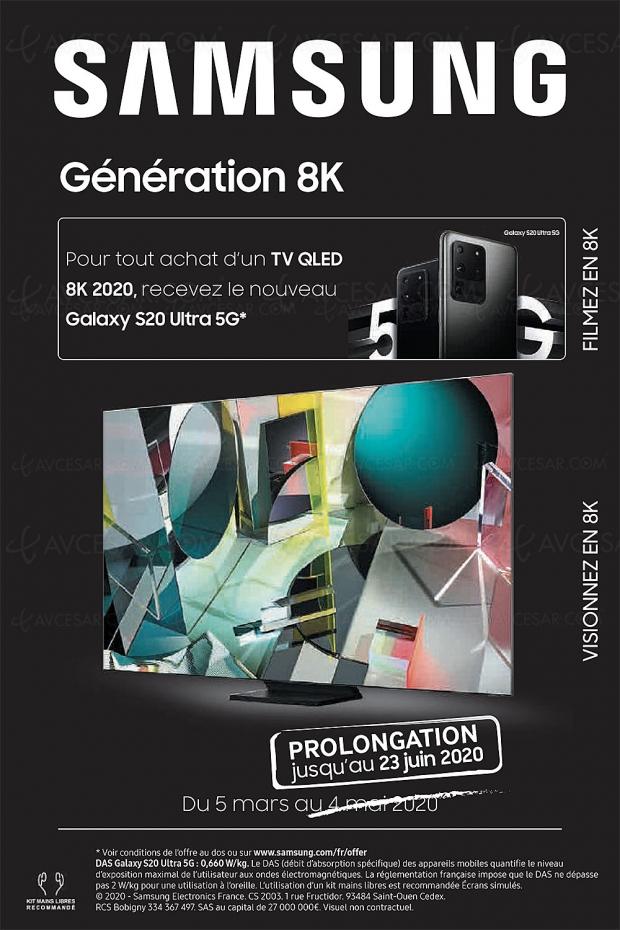 Offre Génération 8K prolongée : Galaxy S20 5G 128 Go offert pour l'achat d'un TV Samsung QLED 8K