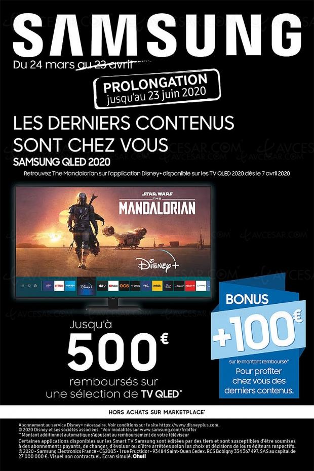 Offre de remboursement TV Samsung QLED 2020, jusqu'à 600 € remboursés