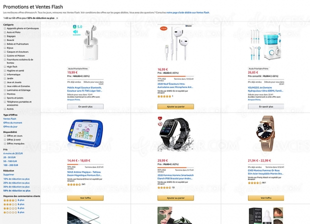 Ventes flash et promotions Amazon, 2 254 produits jusqu'à -87% de remise