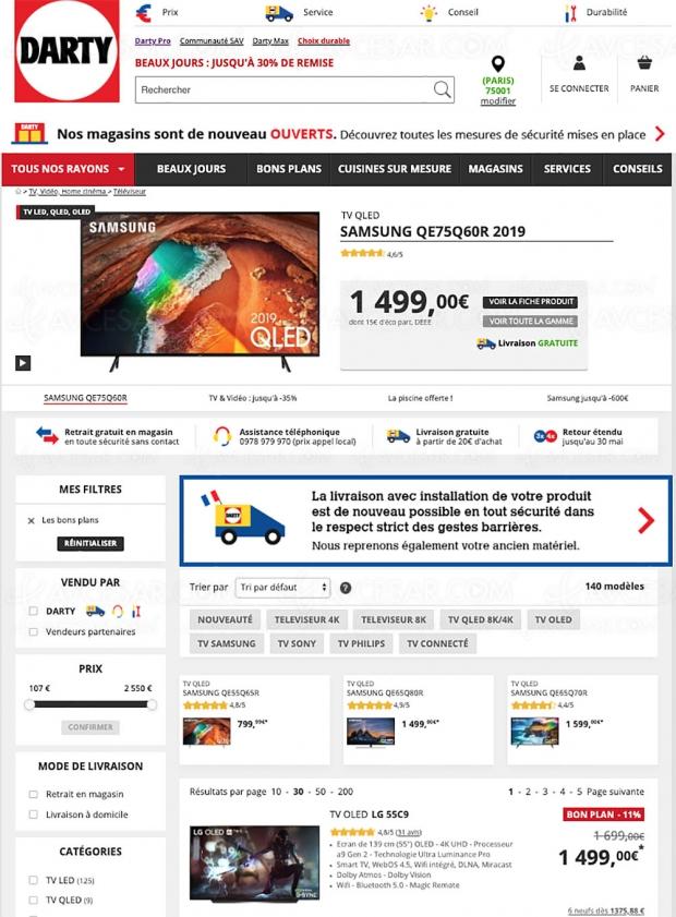 Soldes Darty, 140 TV proposés jusqu'à ‑50% de remise