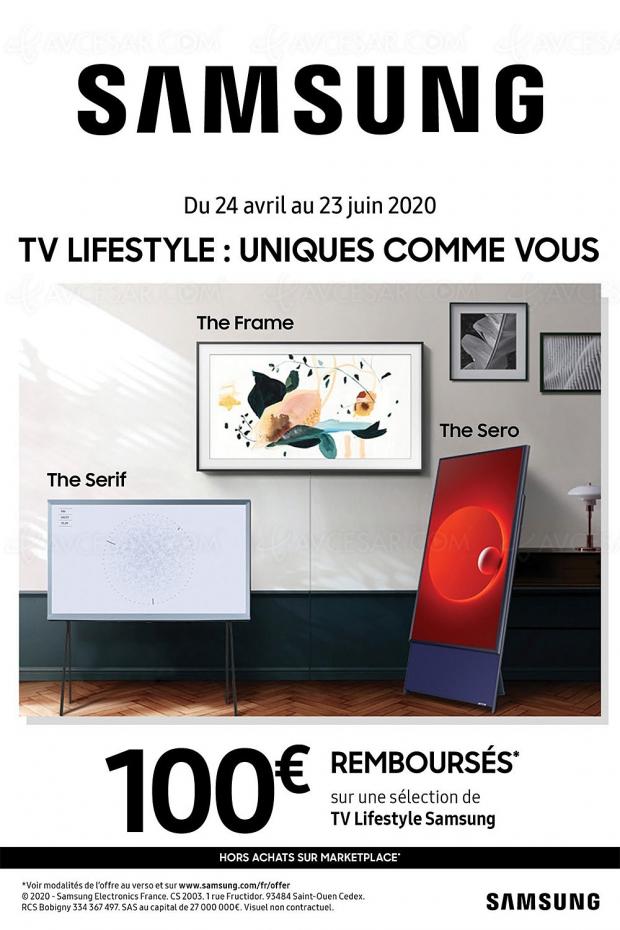 Offre de remboursement 100 € pour un TV Samsung The Frame, The Serif ou The Sero